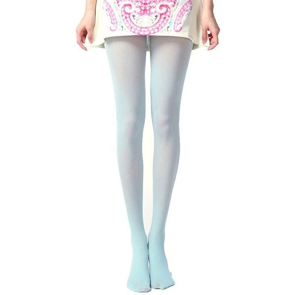 b9453f004 Siftantin Women s Solid Colored Footed Tights (Light Blue) at Amazon...  ( 6.99) ❤ liked on Polyvore featuring intimates