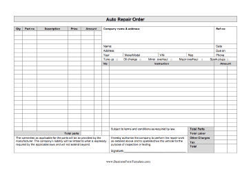 This Business Form Can Be Used By A Garage Or Auto Mechanic To