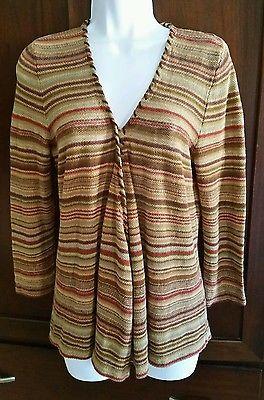 Ralph Lauren Linen Cotton Suede Trim Western Wrap Cardigan Sweater Petite Large