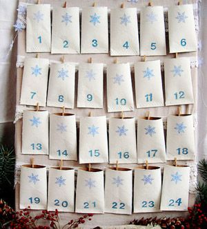 TP Roll Advent Calendar    What you'll need: 24 cardboard tubes, acrylic craft paint, security envelopes, snowflake hole punch, sewing machine, cork board, mini clothespins, ribbons or lace, stamp pad and numeral stamps  Make it: Close your toilet paper tubes by running the bottoms through a sewing machine. Then, paint your tubes white and let them dry. Punch out snowflakes from blue security envelopes, and glue them on the tops of your tubes. Use a blue stamp pad to add numbers to the…