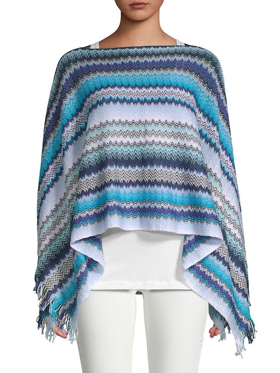 6d5f895886a3a Missoni Crochet Fringe Stripe Poncho, #Missoni, #Fringe, #Crochet ...