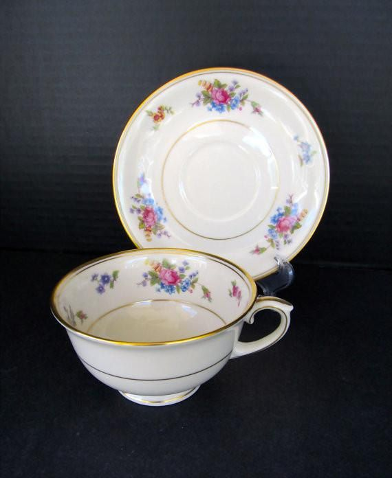 Vintage 1940s China Cup \u0026 Saucer \ Rose of Lamberton\  CHINA DISHES - Made in · Usa GoldPorcelain DinnerwareFine ... & Vintage 1940s China Cup \u0026 Saucer \