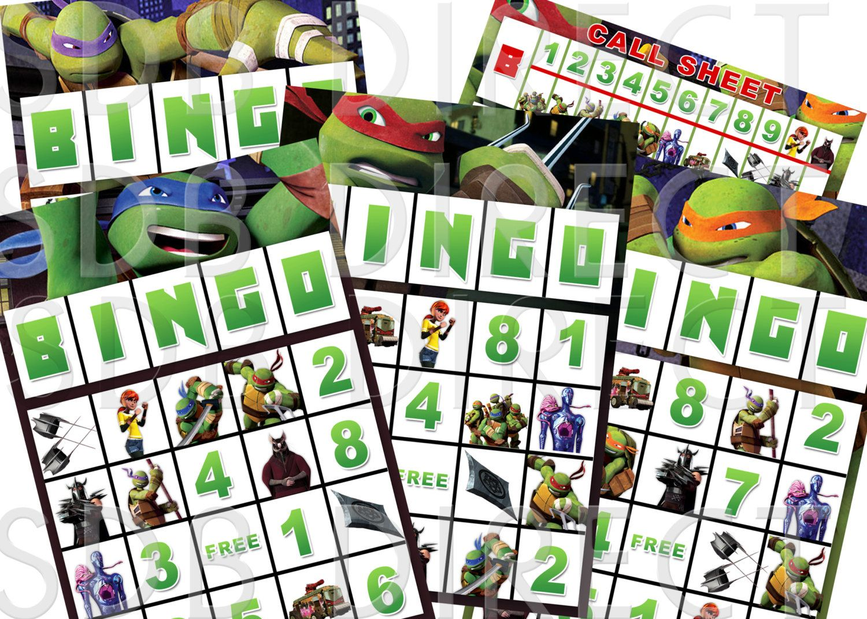 Ninja Turtle Bingo Game Ninja Turtle Party Games Ninja Turtle Birthday Ninja Turtle Supplies