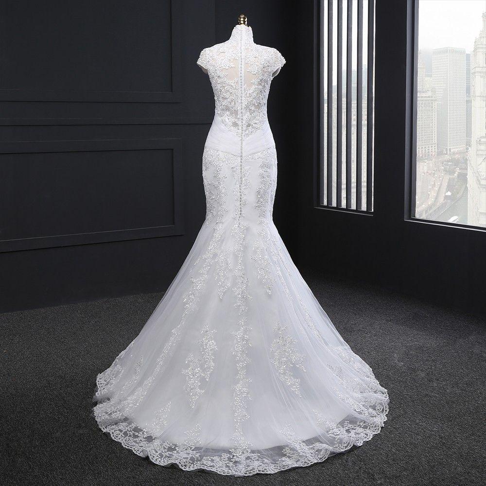 Cap sleeves appliques plus size mermaid wedding dress uniqistic