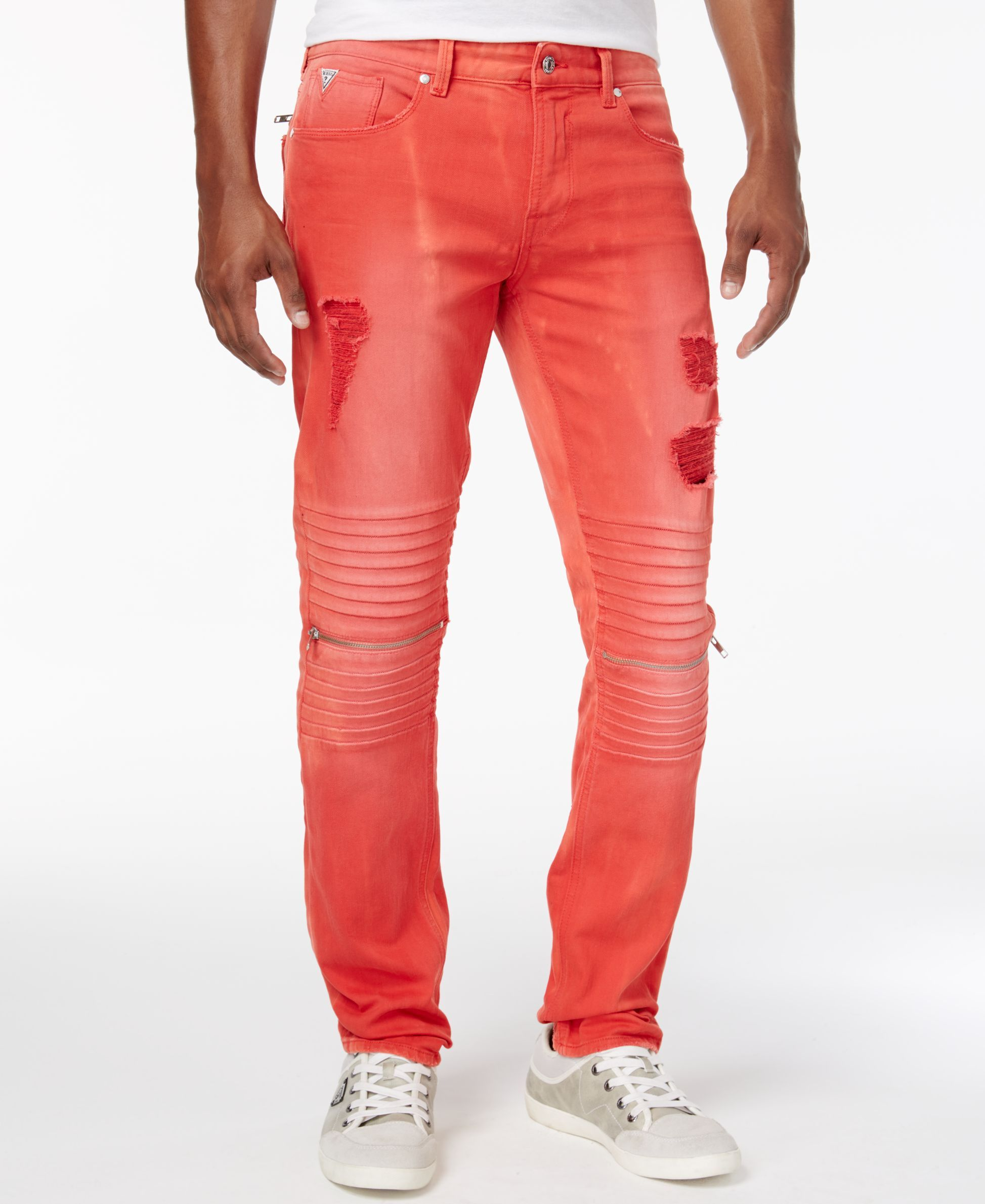 GUESS Men's Slim Fit Ripped Moto Jeans & Reviews Jeans