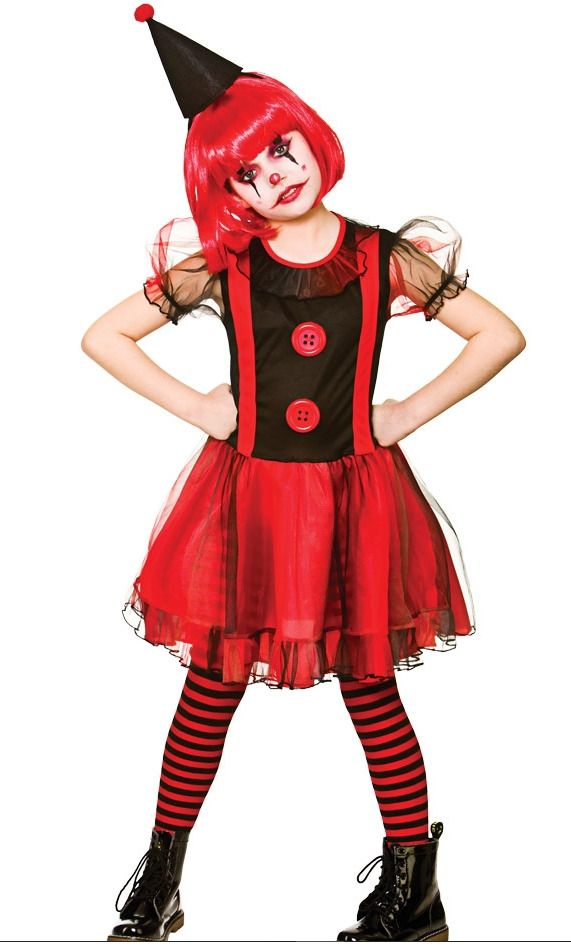 Halloween Costumes For Girls Age 13.Girls Freaky Clown Halloween Scary Horror Circus Childs Kids