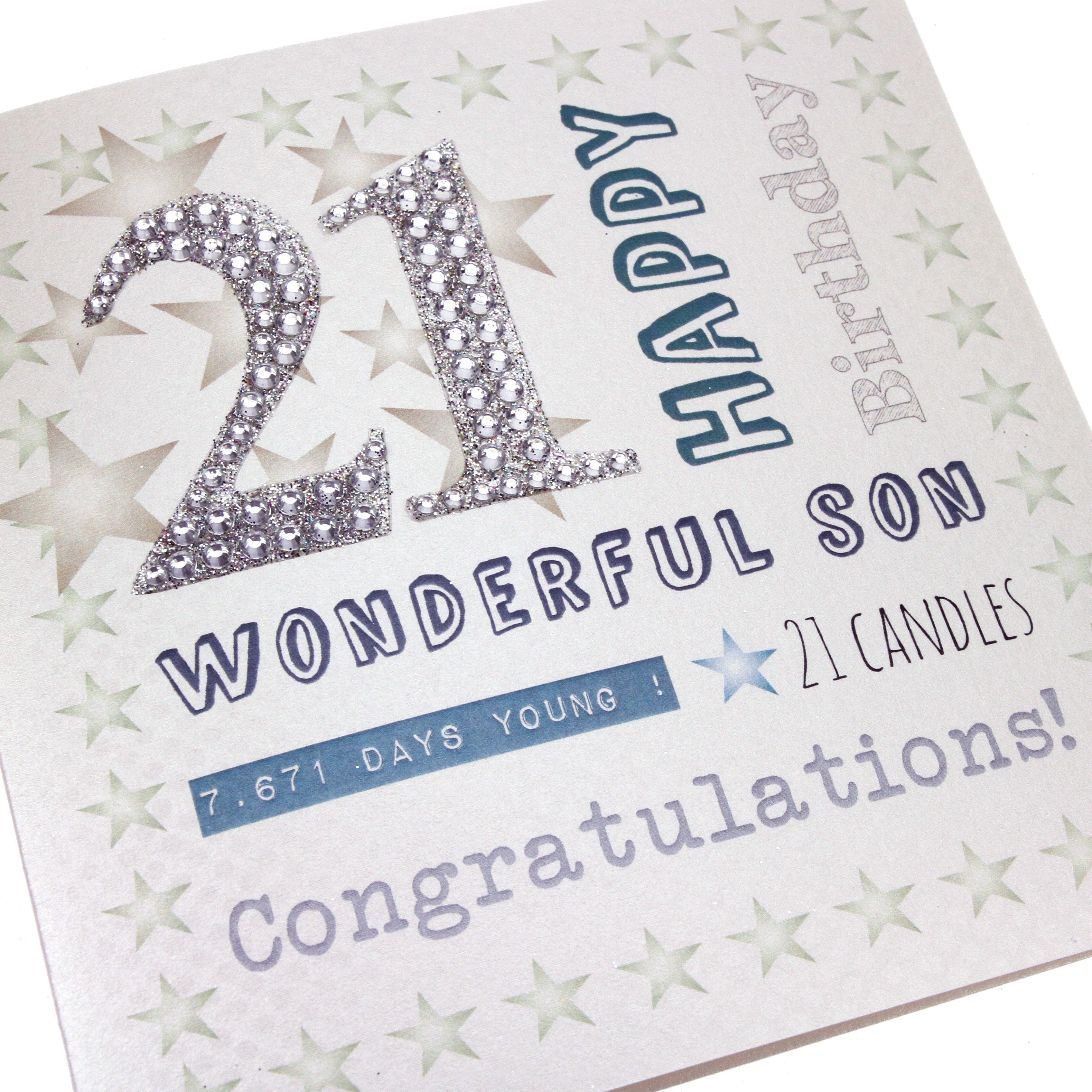 Handmade Men s 21st Birthday Card Diamanté Numbers Silver Happy