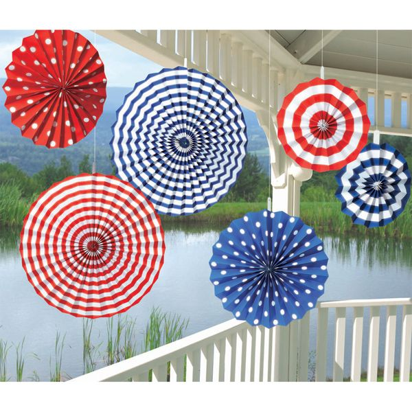 Superior Red And Blue Striped And Polka Dotted Paper Fan Dangling Decorations (6)