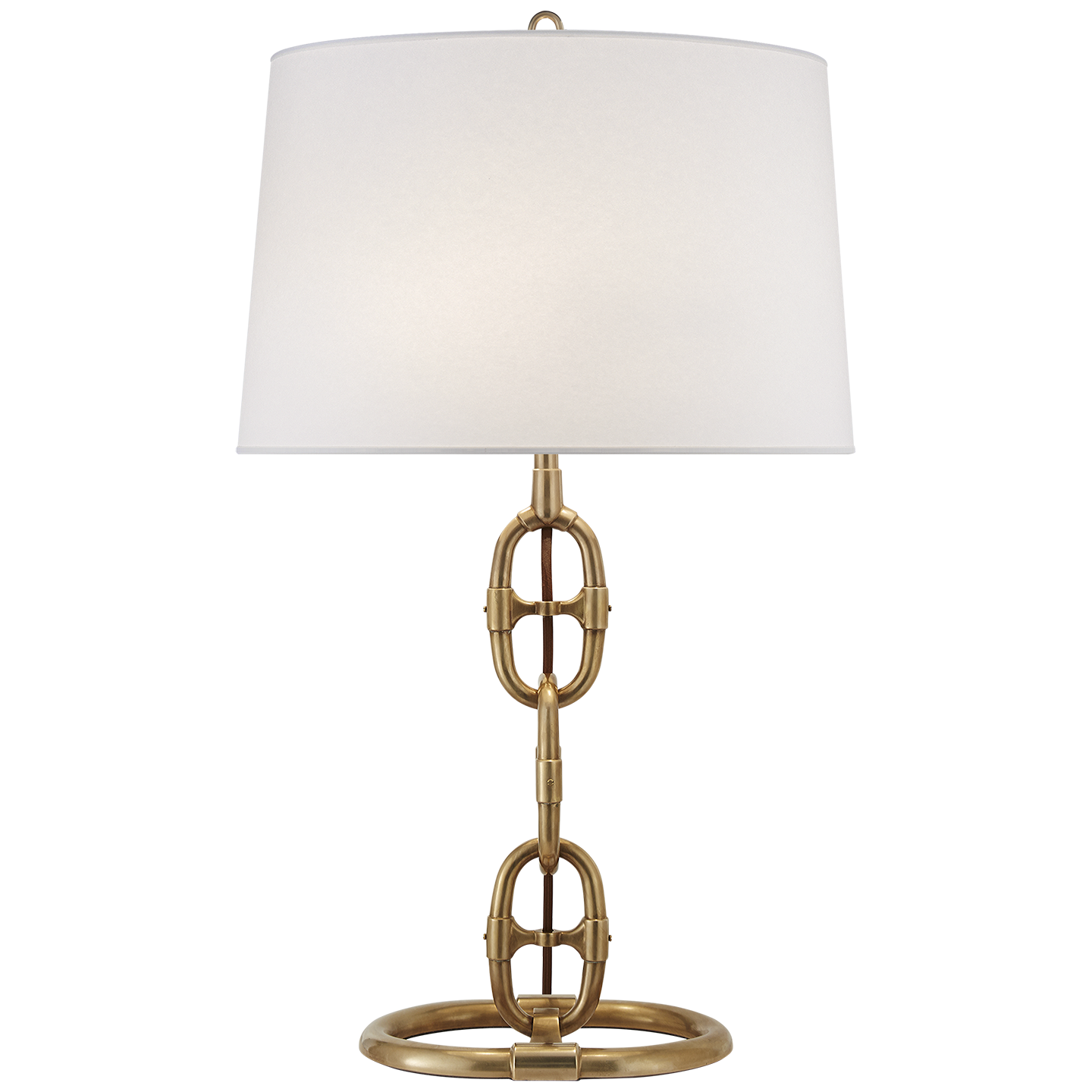 Horse bit table lamp. with gold metal base and ivory shade ...