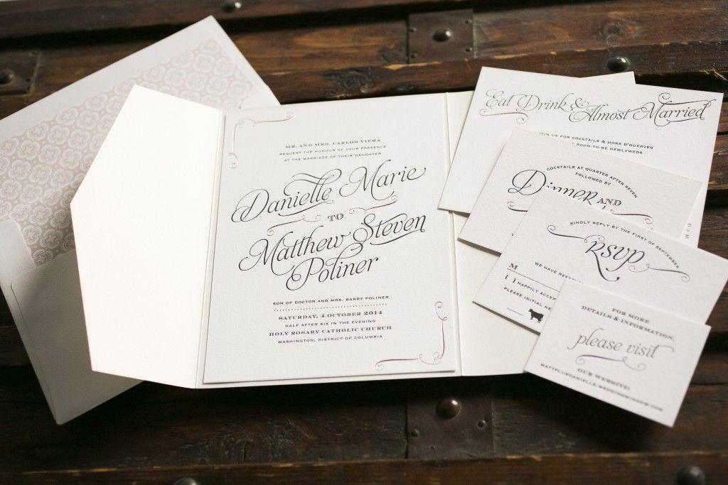 rose gold foil stamped wedding invitations Bella Figura Vintage
