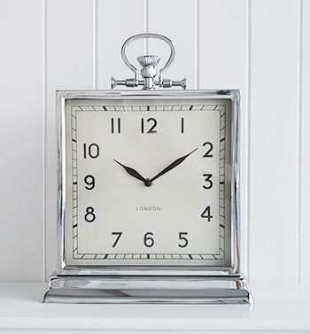 A Large Square Polished Silver Colour Mantel Clock Clock Mantle Clock Mantel Clock
