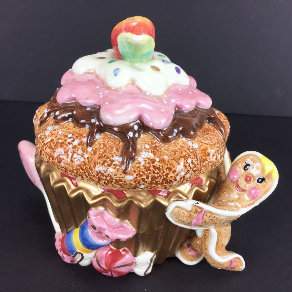 Fitz And Floyd Essentials Gingerbread Christmas Cupcake Candy Dish