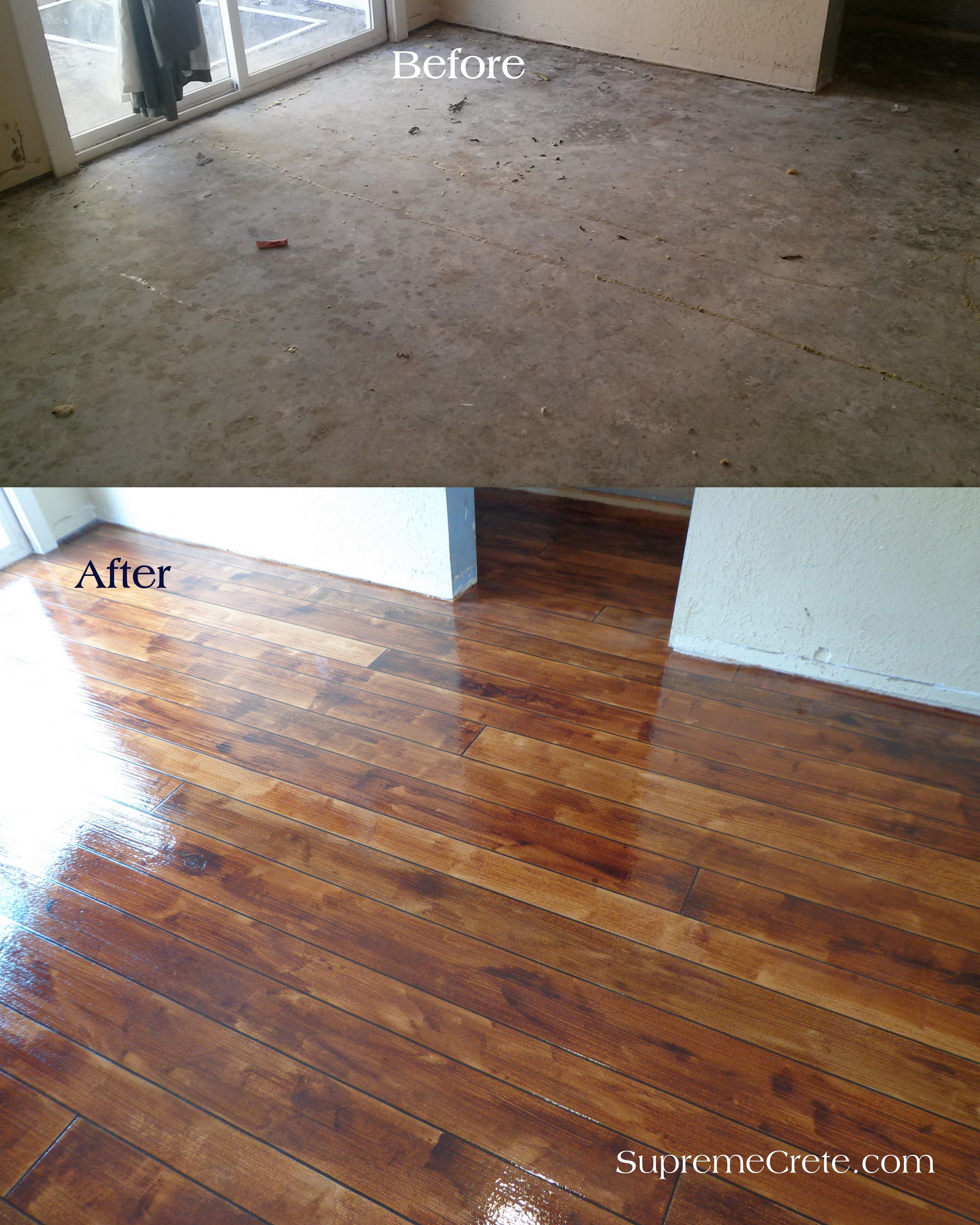 Whoa Concrete Floor Stain To Look Like Wood Diy Concrete Stain