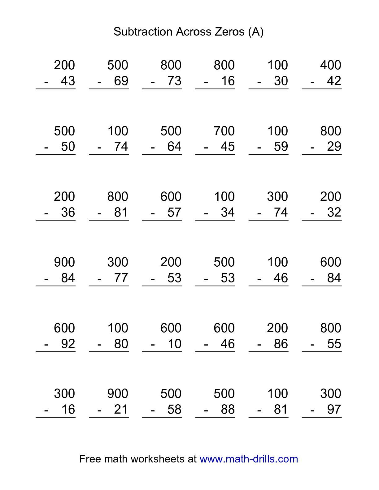 The Subtraction Across Zeros -- 36 Questions (A) math worksheet from ...