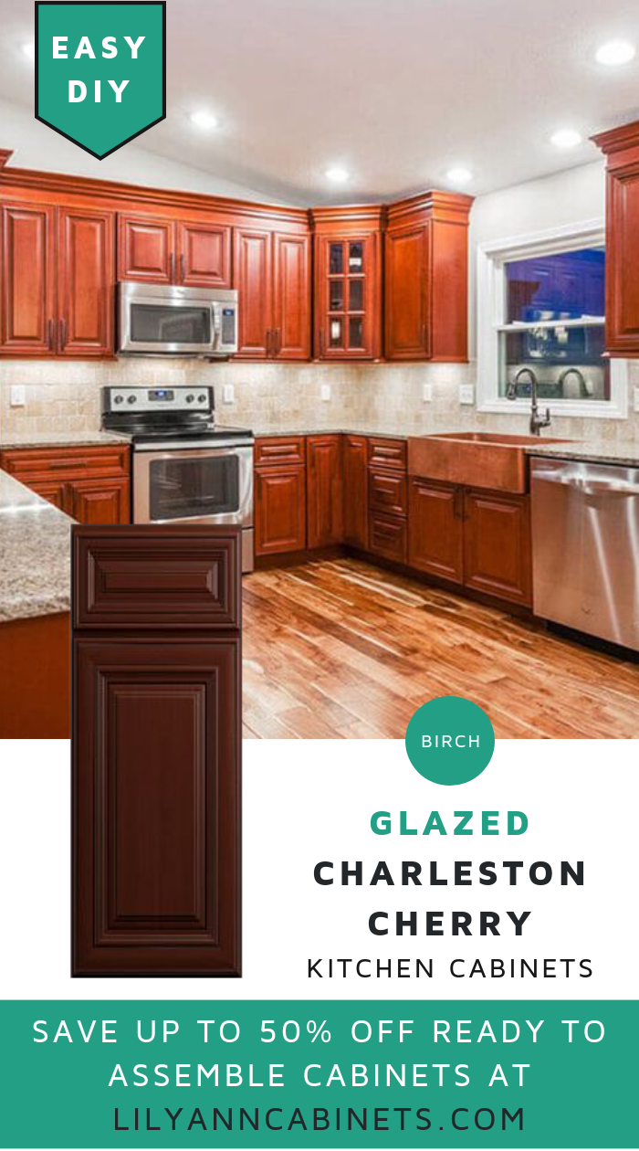 Get the classic look of cherry kitchen cabinets with a modern