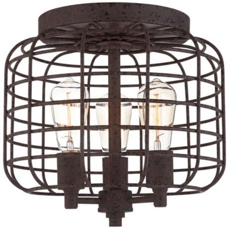 Bathroom Light Fixtures Rusting larkin industrial rust metal cage ceiling light | ceiling lamps
