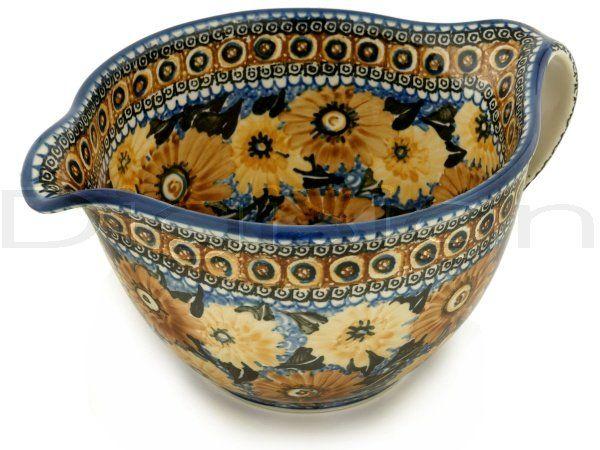 Polish Pottery Batter Bowl 13 Autumn Chrysanthemums Unikat Polish Pottery Polish Pottery Boleslawiec Polish Ceramics