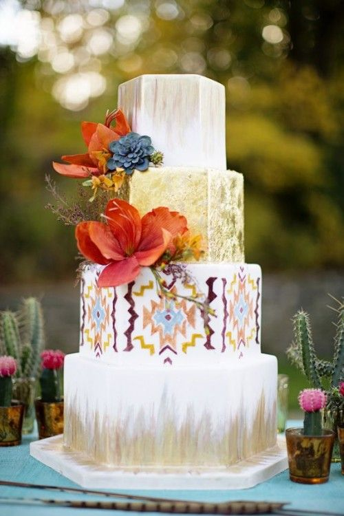 24 Delicious And Beautiful Boho Chic Wedding Cakes Chic wedding