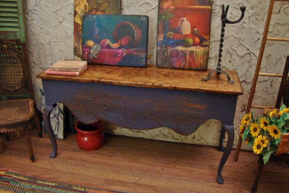 Rustic French Country Blue Console 1:12 Scale by WestonMiniature