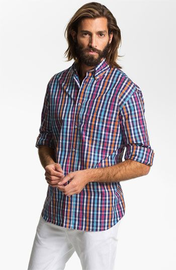 Paul & Shark Sport Shirt | Nordstrom  (dig the shirt but def a negative on the caveman look- scruff is ok for the most part)