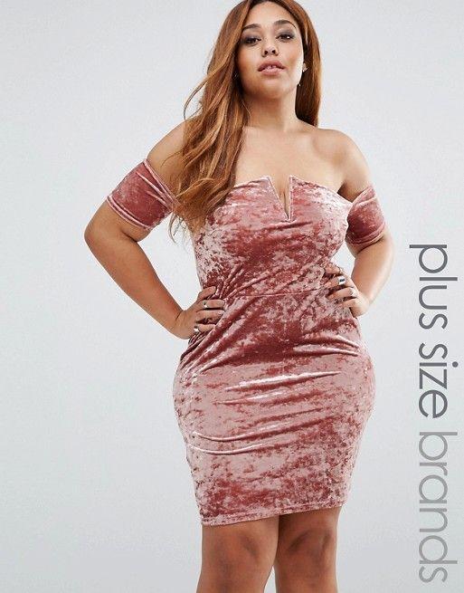 Missguided Plus   Missguided Plus Crushed Velvet Bardot Mini Dress 0d83710c46