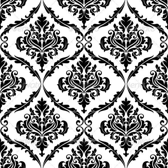 Ornate Floral Arabesque Decorative Pattern Black And White