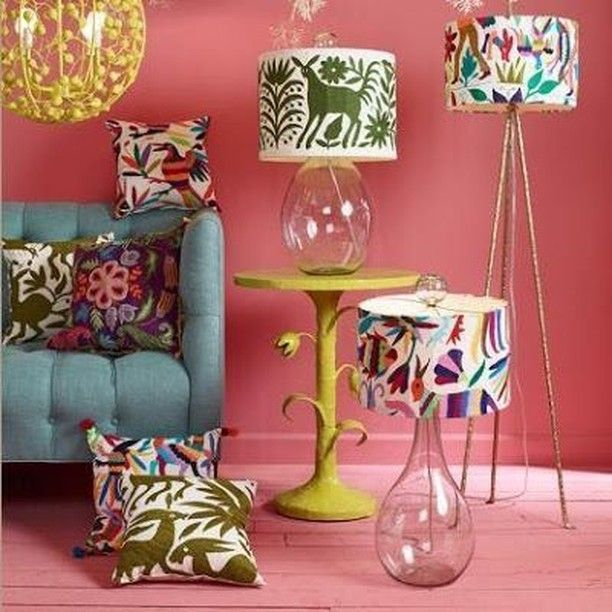 Mexican Inspired Print Fabric Lamp Shades with Transparent Bases and ...