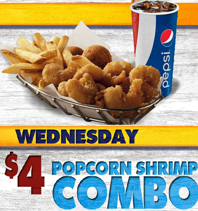 Long John Silvers Wednesday Special 4 Popcorn Shrimp Combo Longjohnsilvers Special Betterfishstory Seafood Fish Popcorn Shrimp Food Pictures Food