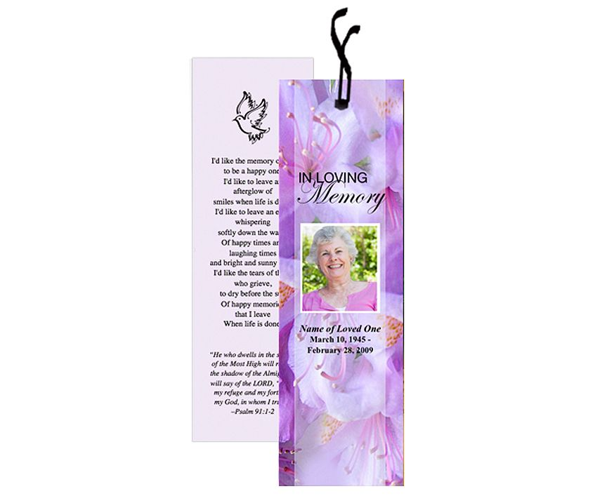Memorial Bookmarks Lavender Bookmark Template Bookmark
