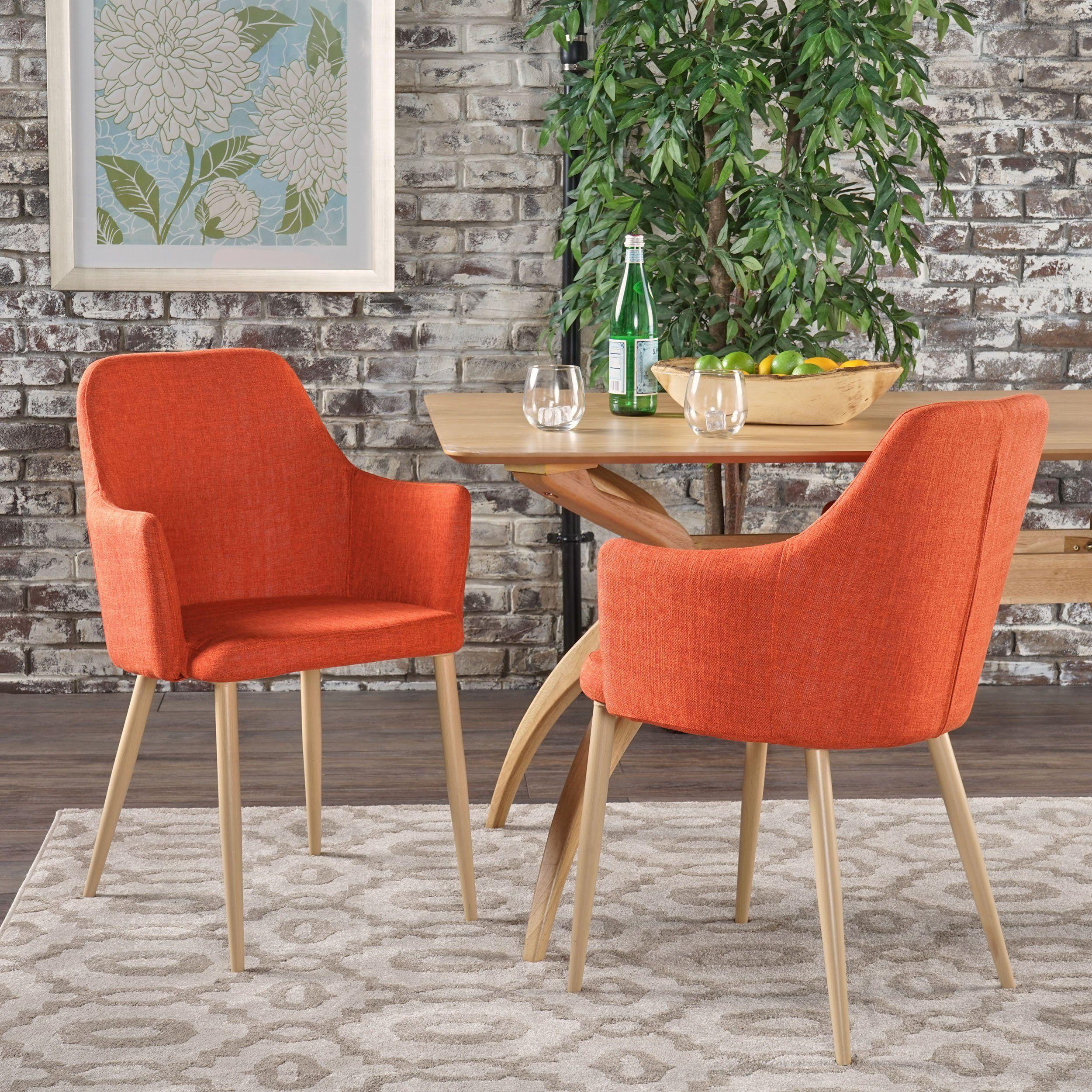 Serra Mid Century Modern Muted Orange Fabric Dining Chair With Lig Fabric Dining Chairs Mid Century Modern Fabric Dining Chairs Midcentury Modern Dining Chairs