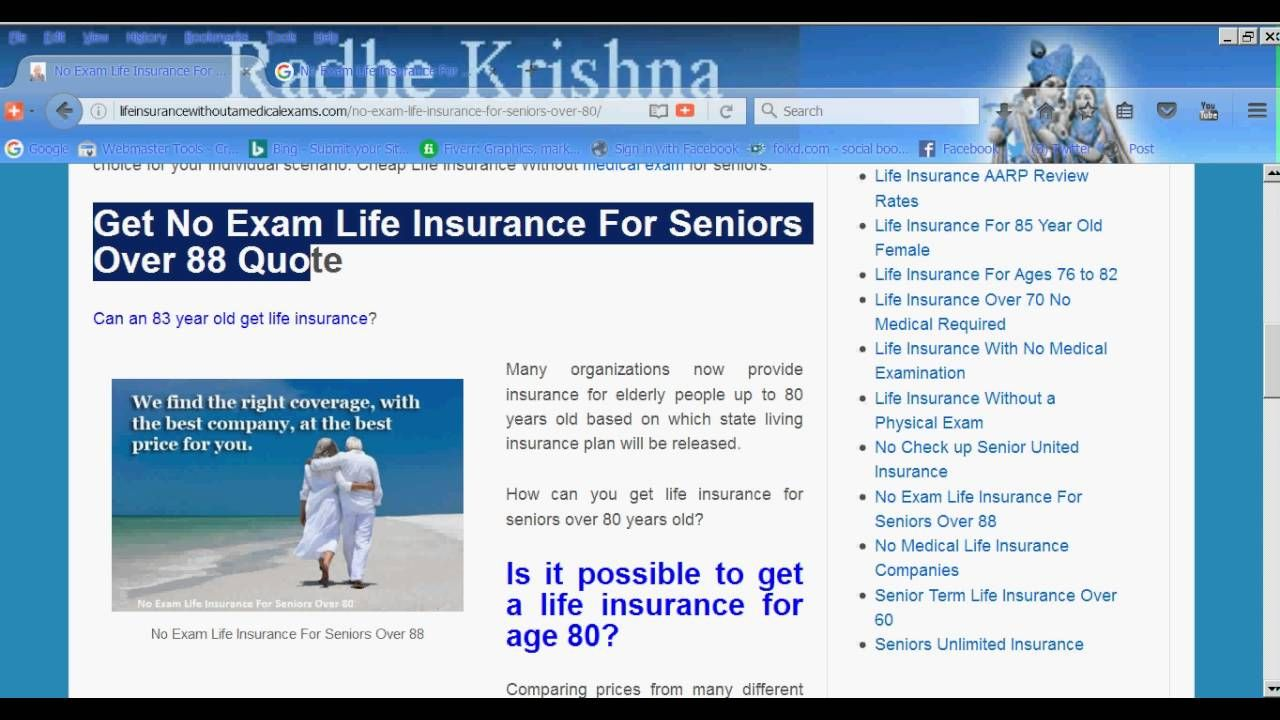 Life Insurance Quotes For Seniors Over 80 No Exam Life Insurance For Seniors Over 88  Life Insurance No