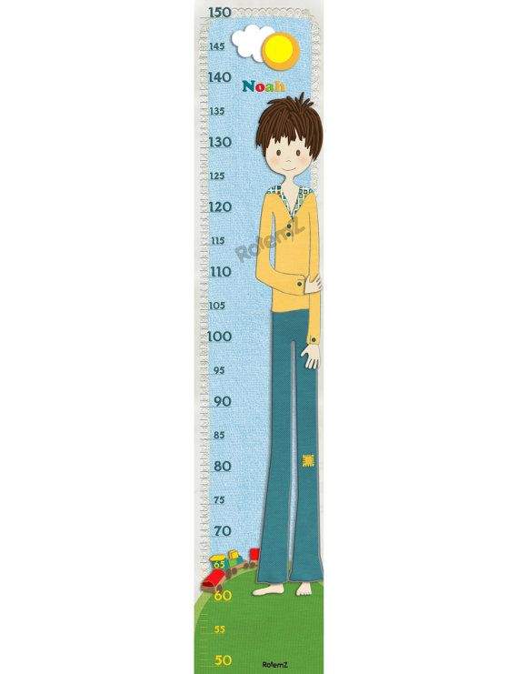 Growth Chart For Boys Height Chart For Boys By Rotemz On Etsy