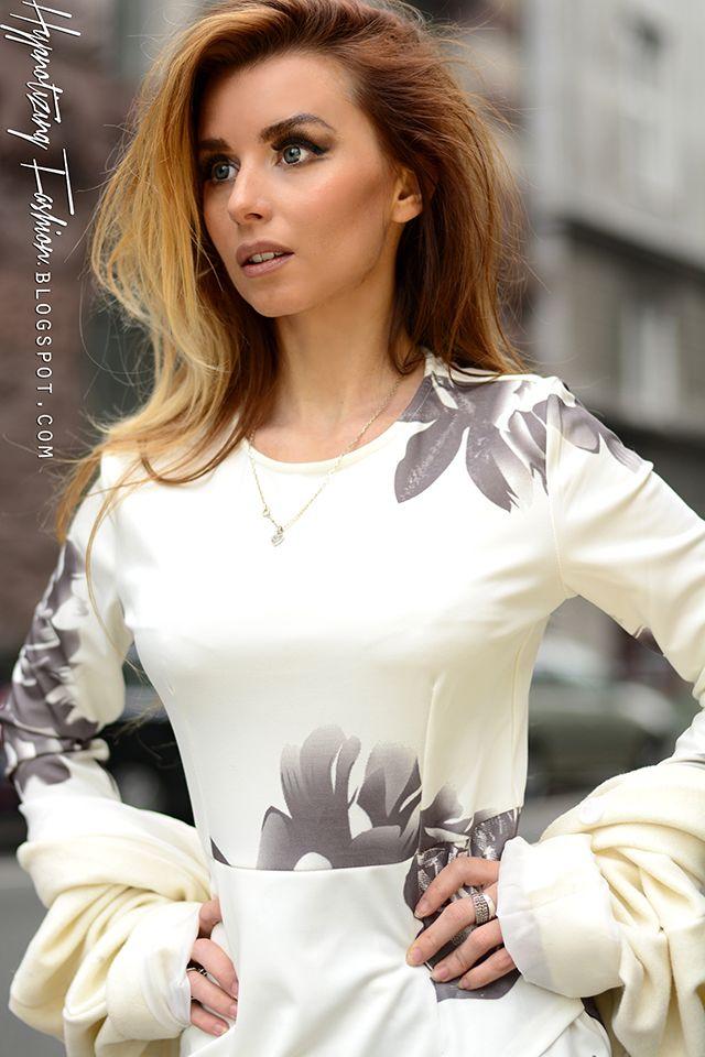 Wiosna 2015 Stylizacja Biala Sukienka W Kwiaty I Plaszcz Hypnotizing Fashion Street Style Blog Stylizacje I Moda