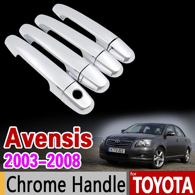 For Toyota Avensis 2003 2008 Chrome Door Handle Cover Trim Set T250 T25 2004 2005 2006 2007 Accessories Sticker Car Toyota Avensis Chrome Door Handles Toyota