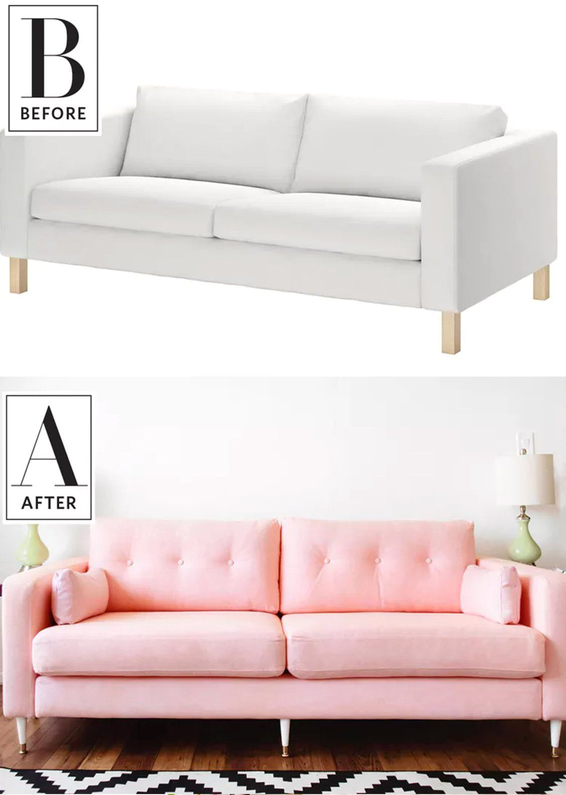before after an ikea clearance sofa becomes a millennial pink rh pinterest com