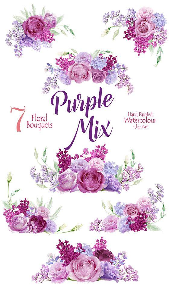 Hand bemalt lila Mix Clipart, Blume Aquarell Sträuße mit Rosen, Eustoma (Lisianthus), Zweig von Flieder, Einladung, PNG, Scrapbooking #decopodge