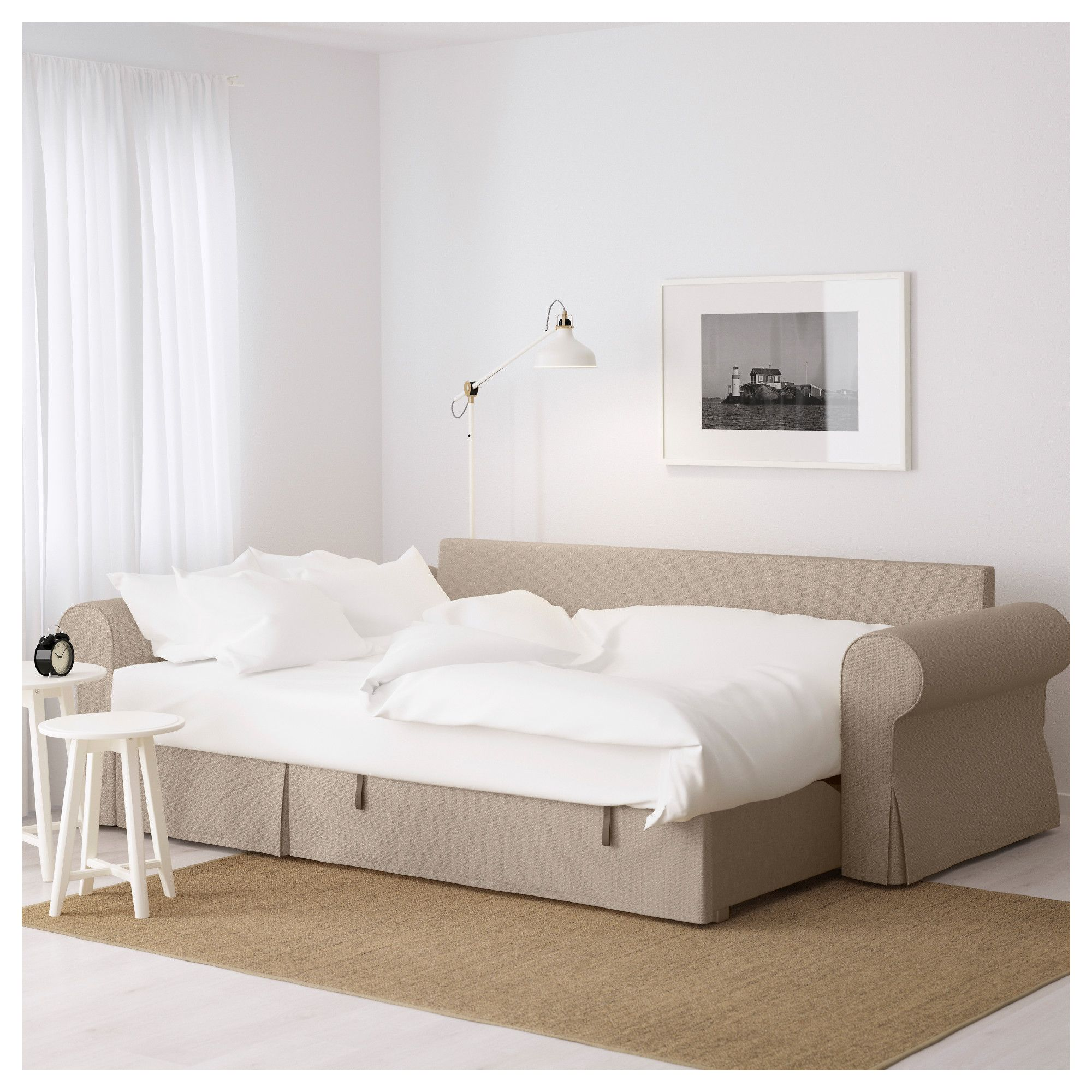 Backabro sofa bed with chaise longue hylte beige beige for Chaise longue bed
