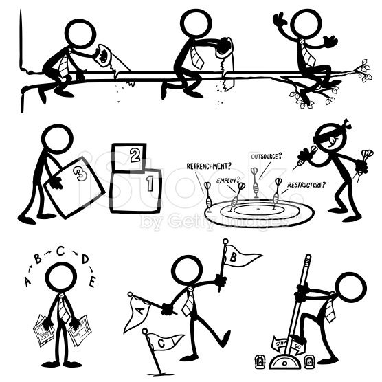 Stick Figure People Business Strategy royalty-free stock vector art