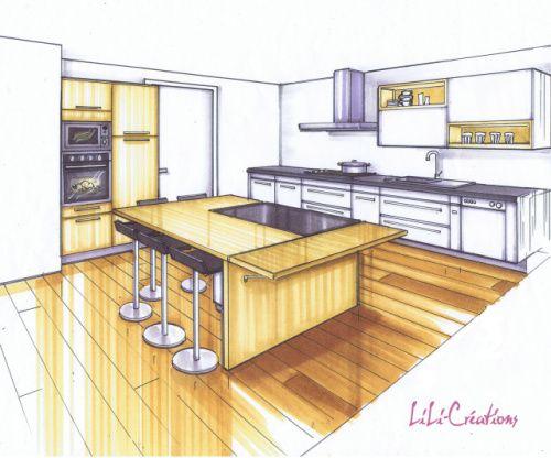 Cuisine Croquis Interieur Maison En 2019 Croquis Interieur Dessin Architecture Et Maison Dessin
