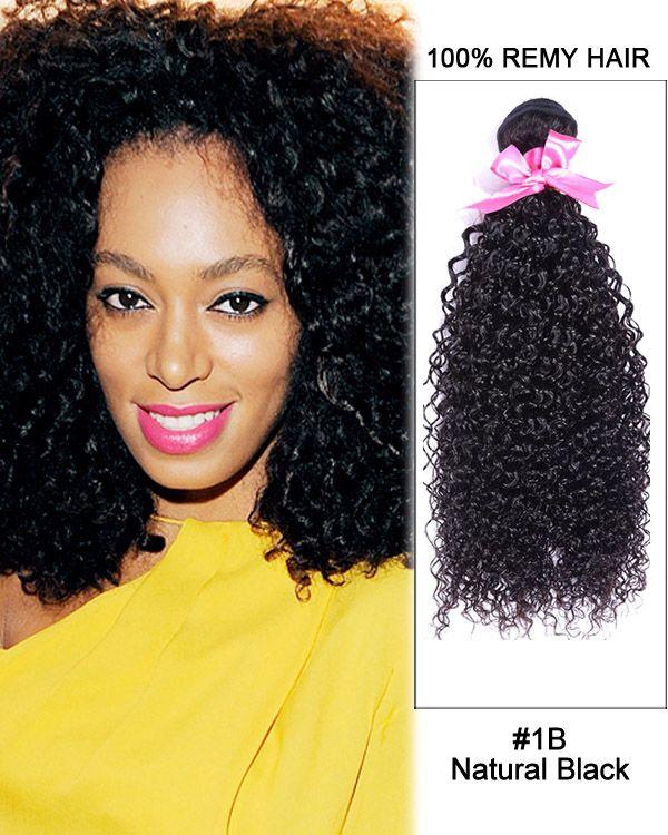 16 1b Natural Black Kinky Curly Weave 100 Remy Hair Human Hair