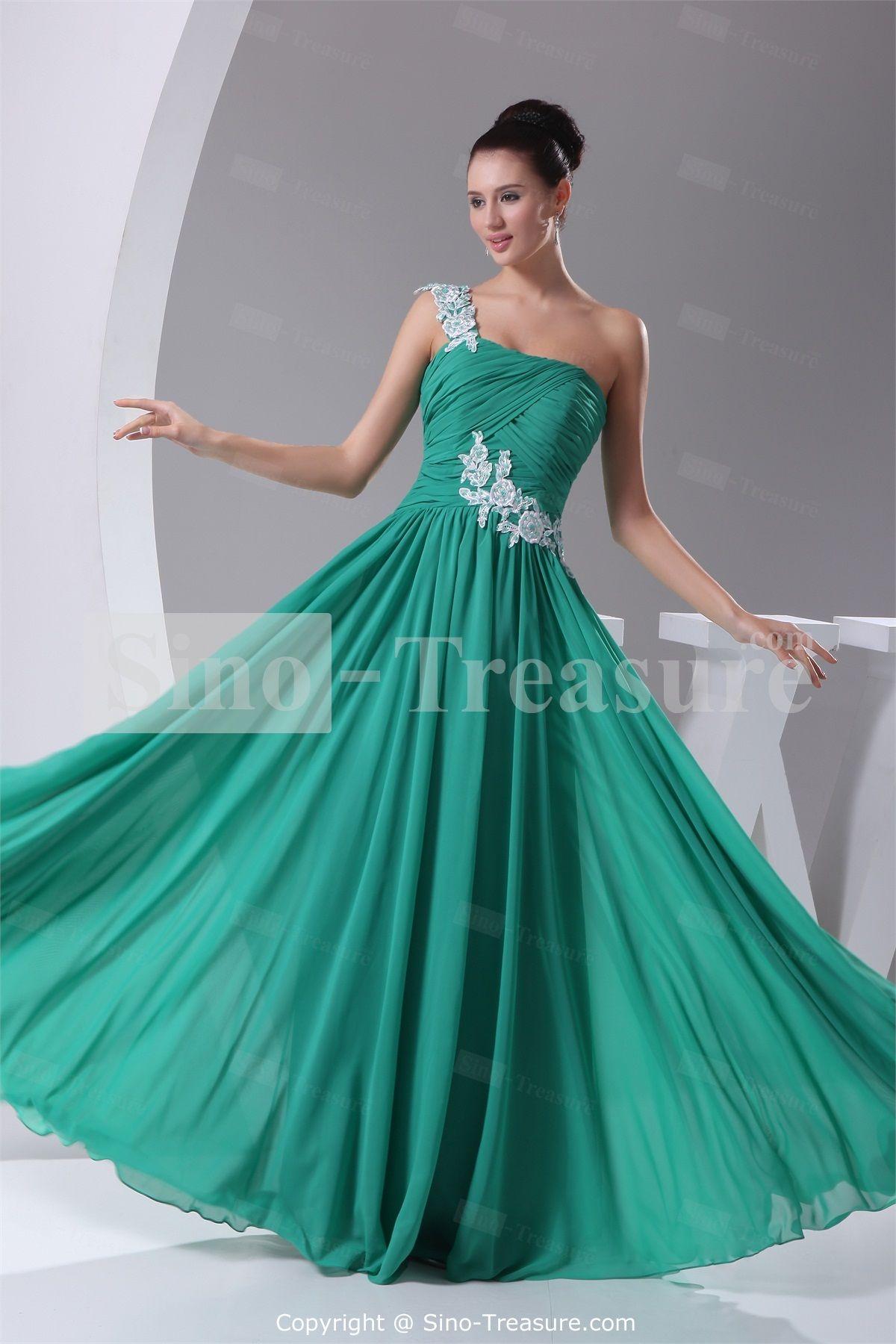 Dark Green Chiffon One Shoulder Sleeveless Prom Dress/Evening Dress ...