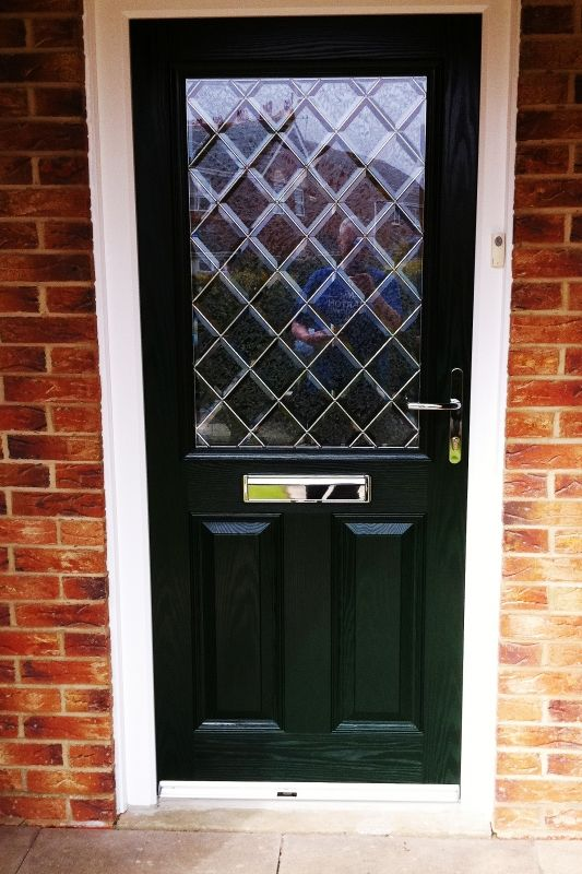 Green Parama Composite Front Door With Beautiful Diamond Crystal Bevel Glass Design Comple Composite Front Door Beveled Glass Open Concept Kitchen Living Room
