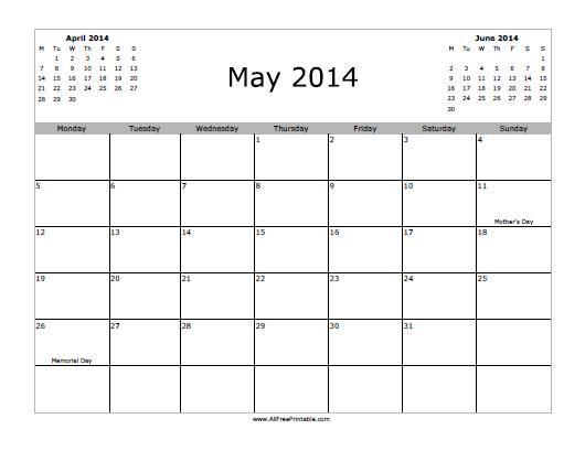 Printable 2014 May Calendar Free Printable May 2014 Calendar