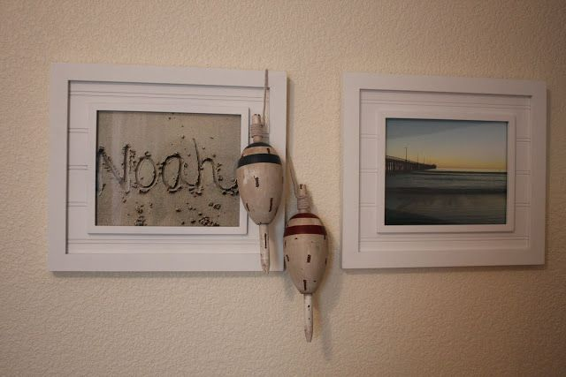 Love this! Write your child's name in the sand and frame it for the nursery! Great ideas here for a nautical theme!
