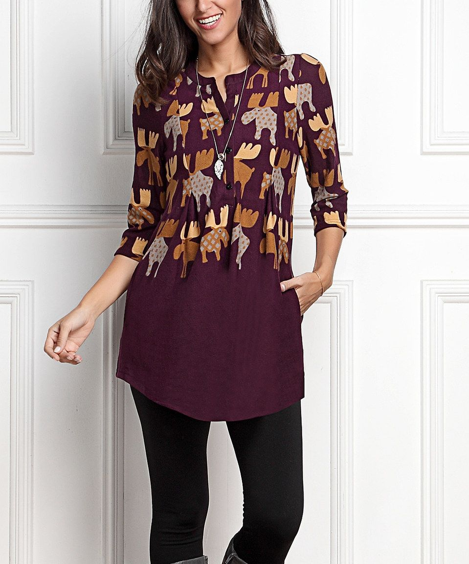 7c6ff4d44c11 Look what I found on  zulily! R B Plum Reindeer Button-Front Side-Pocket  Tunic - Plus Too by R B  zulilyfinds