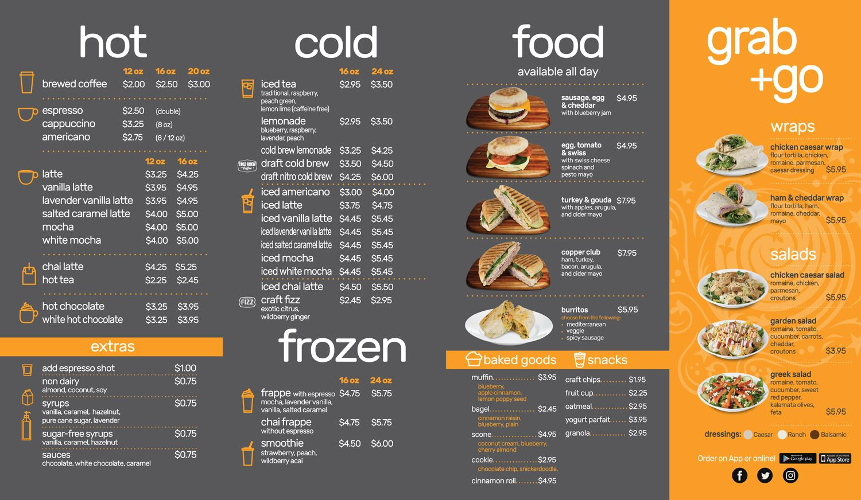 Cold meals coffee brewing cafe menu