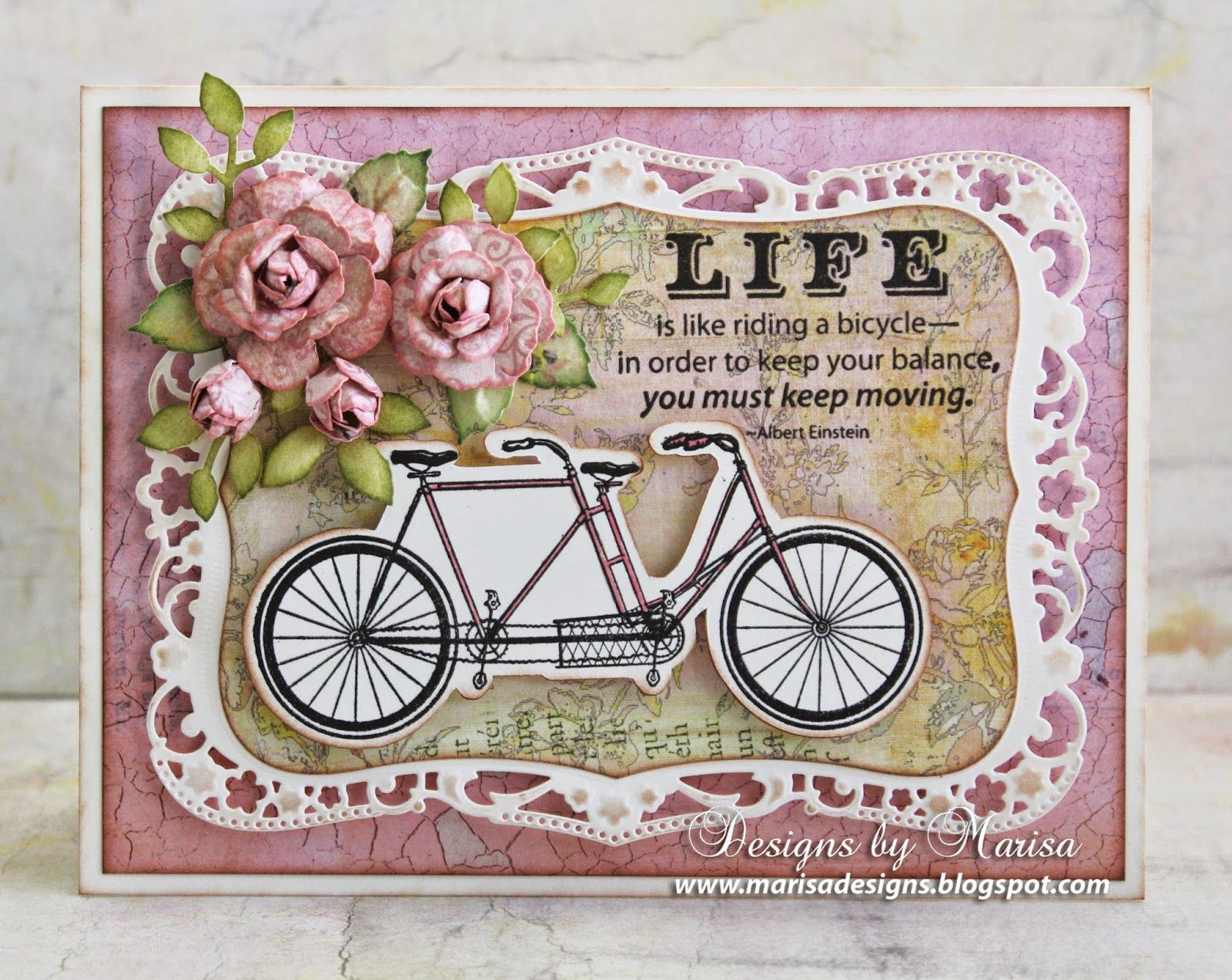 Designs by Marisa: JustRite Papercraft May Release - Bicycle Built for Two Cling Stamp