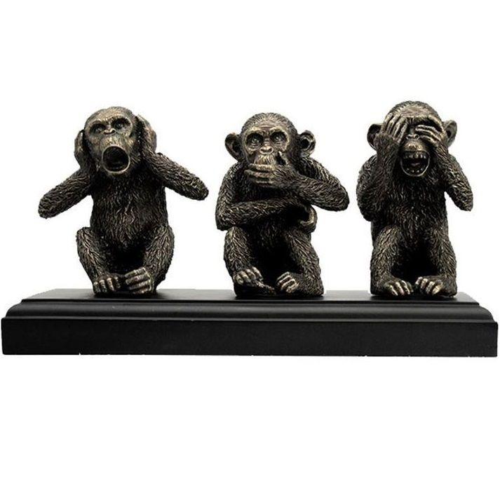 "2/"" Hear No Evil See No Evil Speak Monkeys Celadon Ceramic  Made in Thailand"