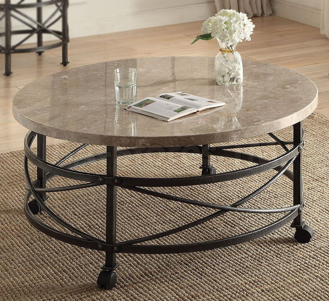 Marble Coffee Table Walmart: Nestor Round Marble Top Coffee Table