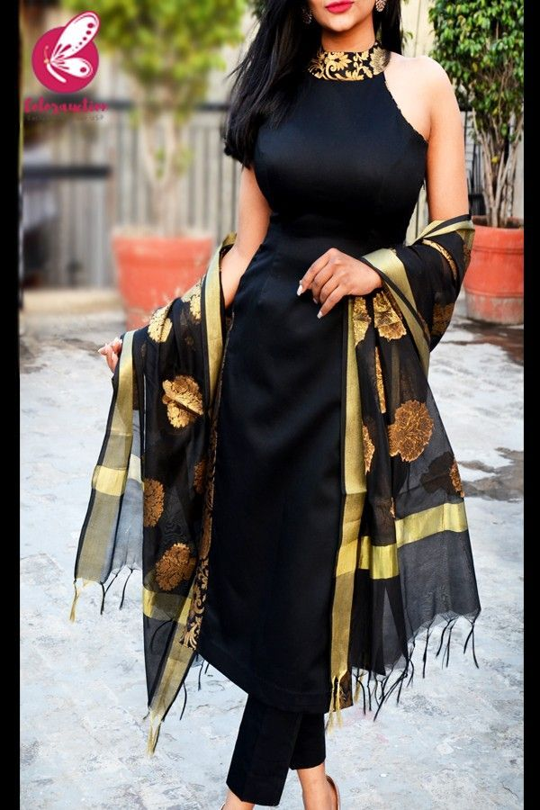 Shop Black Cotton Silk Golden Brocade Padded Kurti with Black Cotton S